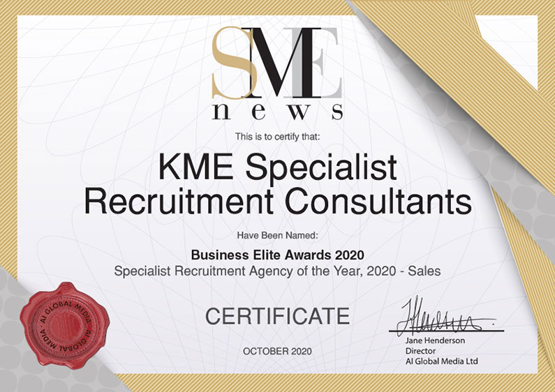 KME Recruitment SME Specialiste Recruitment Agency of the Year 2020